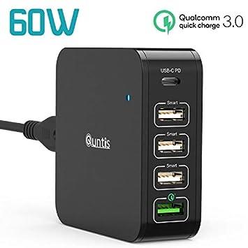 Quntis Cargador de Pared USB C 60W, 5 Puertos 60W Power Delivery 3.0 & 18W Quick Charge 3.0 Compatible con MacBook Air 2018, iPad Pro 2018, iPhone ...