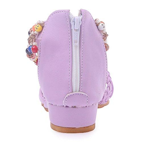 RAZAMAZA Mujer Moda Tacon Bajo Cremallera Sandalias Natural Bohemia Plano Zapatos con Perla Purpura