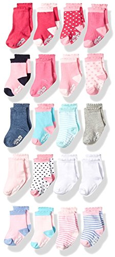 Girls Infant Socks (Little Me Baby Girls' 20 Pack Socks Assorted, 0-12 Months/ 12-24 Months)