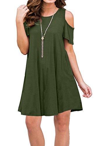 f772899e3806 MOLERANI Women's Cold Shoulder Tunic Top Swing T-Shirt Loose Dress