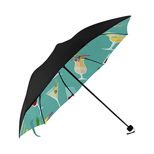 Cocktail Color Design Creative Romance Compact Travel Umbrella Sun Parasol Anti Uv Foldable Umbrellas(underside Printing) As Best Present For Women Sun Uv Protection
