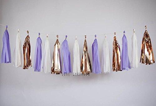 purple lavender peach ivory goldneutral Lavender Tassel Garland cake smash gender reveal nursery tassel banner fringe Free Shipping