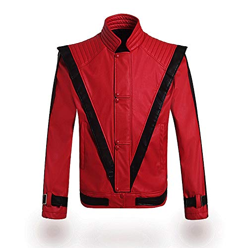 Gn2u Michael Jackson Jacket Thriller Billie Jean PU Leather Jackets Mens Red Zipper Suits Dance Costumes ()