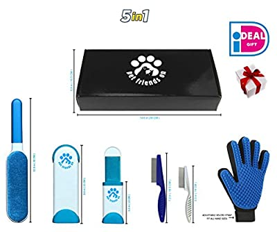 Fur Wizard - Lint Brush - Pet Hair Remover Brush With Self Cleaning Base - Dog & Cat Grooming Glove - Efficient Animal Hair Removal Tool - Two Combs Bonus - Perfect Gift Box by Pet Friends On