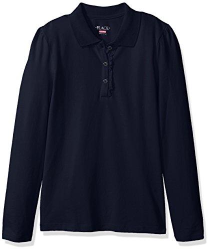 Kids Long Sleeve Polo (The Children's Place Little Girls' Uniform Long Sleeve Polo, Tidal-Ruffle 44389, Small/5/6)