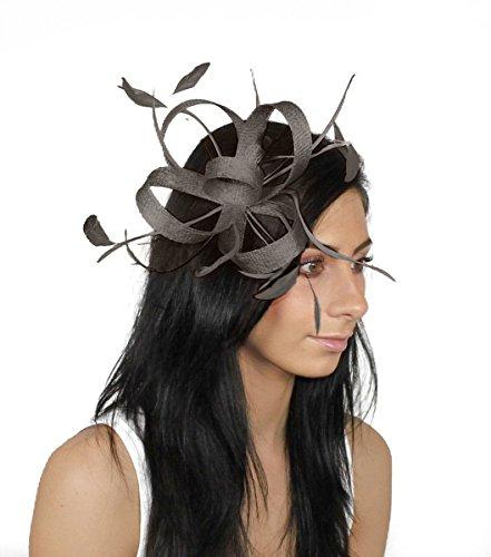 Cappello Ascot Dark E 122 Per Grey La Fascia Piume Con Testa Sinamay 4wHTxr5wqB