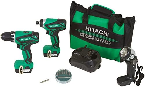 Hitachi KC10DFL2 12-Volt Peak Cordless Lithium Ion Driver Drill and Impact Driver Combo Kit Lifetime Tool Warranty