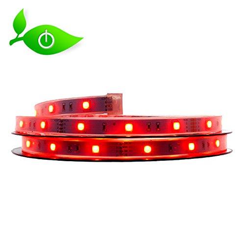 LED Streifen Set Farbe: rot 5m selbstklebend, Wasserdicht. Incl. Qualitätstrafo und Halter für die Montage auf schwierigen Untergründen wie z.B. Mauerwerk oder Rauhfaser. Für innen und außen. 30 Led's SMD5050 pro Meter. 7,2W/m 12V. Kürzbar von Sveton