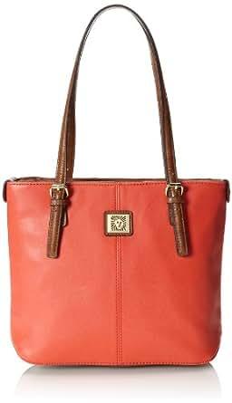 Anne Klein Perfect Small Shopper 60290911 Shoulder Bag,Tangerine/Saddle,One Size