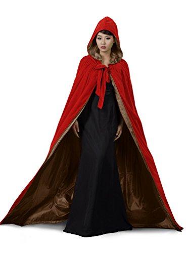[ANGELWARDROBE Halloween Hood Cloak Wedding Cape Red-Brown-S] (Womens M&m Halloween Costume)