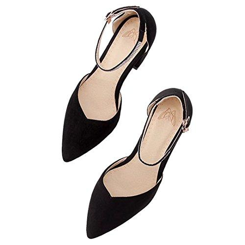 AIYOUMEI Blockabsatz Pumps mit Knöchelriemchen High Heels Schuhe mit Strass Schwarz