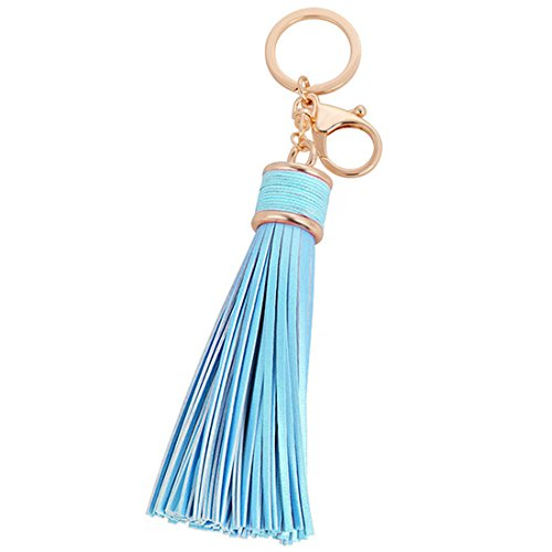 ZOONAI Women Leather Tassels Keychain Car Circle Key Rings Gift Bag Hanging Buckle (Skyblue)