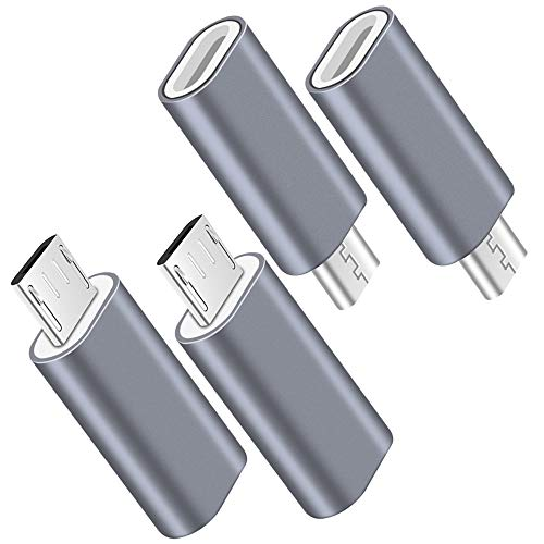 USB C to Micro USB Adapter, (4-Pack) Type C Female to Micro USB Male Convert Connector Support Charge & Data Sync Compatible with Samsung Galaxy S7/S7 Edge, Nexus 5/6 and - Usb Devices Micro