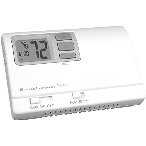 ICM Controls SC3000L Simple Comfort 7/5-2/5-1-1-Day Programmable Thermostat with Backlit Display for Single-Stage H/C or Single-Stage hp, Manual Changeover