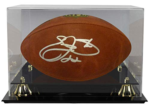 (Emmitt Smith Autographed Signed Dallas Cowboys Leather Football (Name Only) JSA With Deluxe Acrylic Football Display Case)