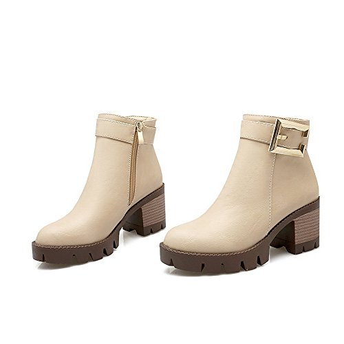 AgooLar Women's Zipper Round Closed Toe Kitten-Heels PU Low-Top Boots Beige FBqKHJX