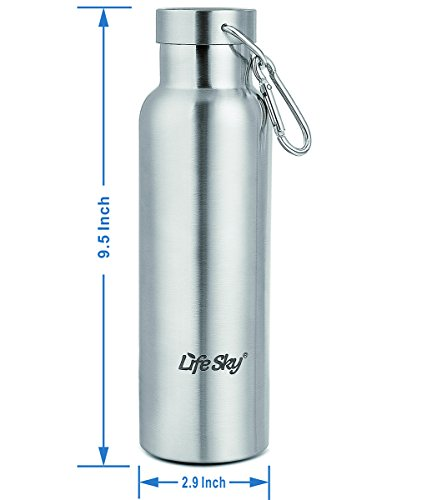 LifeSky Stainless Steel Sports Water Bottle Double Walled Vacuum Insulated, Wide Mouth, BPA Free, 20oz (600ml)