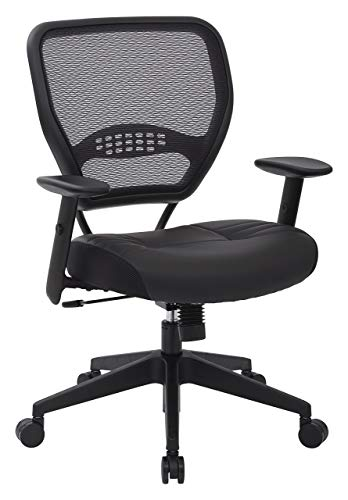 Tension Arm - SPACE Seating Professional AirGrid Dark Back and Padded Black Eco Leather Seat, 2-to-1 Synchro Tilt Control, Adjustable Arms and Tilt Tension with Nylon Base Managers Chair (Renewed)