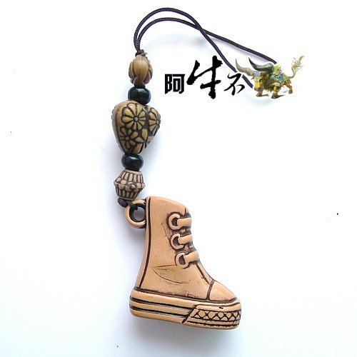 Retro Style Wooden Textured Boot / shoe Cell Phone Charm for Good Luck & Repel Evil