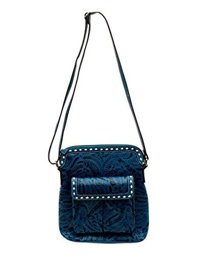 Blazin Roxx Women's Nora Floral Embossed Messenger Bag, Blue, (Embossed Messenger Bag)