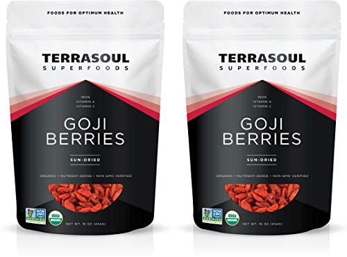 Terrasoul Superfoods Organic Goji Berries, 2 Lbs - Large Size | Chewy Texture | Premium Quality | Lab-Tested