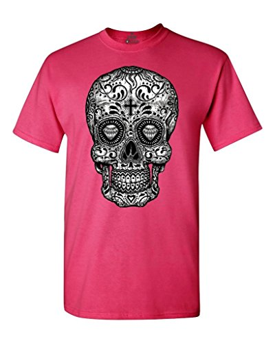 Shop4Ever Sugar Skull Black & White T-Shirt Day of The Dead Shirts X-Large Heliconia Pink 17037 for $<!--$9.91-->