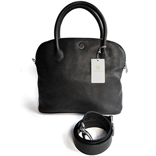 """Sonnenleder-sac à main de qualité «roma t """"- couleur :  noir, doublure :  *red fire engine cuir véritable"""