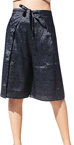 RaanPahMuang Brand Thick Thai Silk With Geometric Pattern Wrap Capri Drive In Pants, Medium, Black (Clothes Silk Thai)