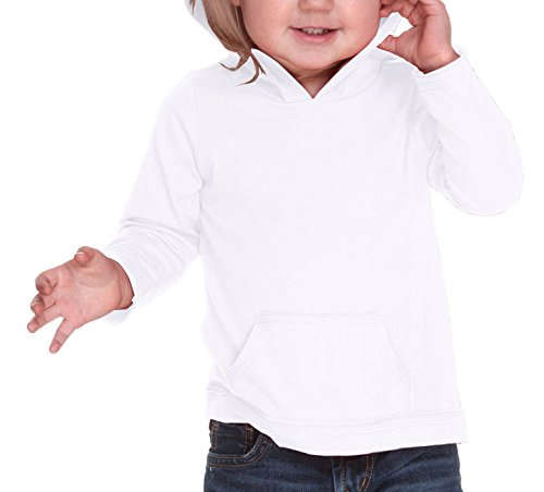 Kavio! Infants Jersey RawEdge High Low Long Sleeve Hoodie w.Pouch White 18M