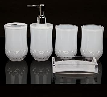 set acrylic bathroom accessories bathroom set glamarous white - White Bathroom Accessories Uk