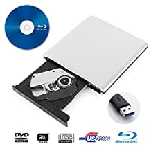 LeaningTech BD-1 Super-BluDrive, External DVD CD Blue-Ray Disc Player Writer Burner and SuperDrive for Mac,Windows, Vista Device, USB 3.0, Aluminum Alloy Shell (Silver)