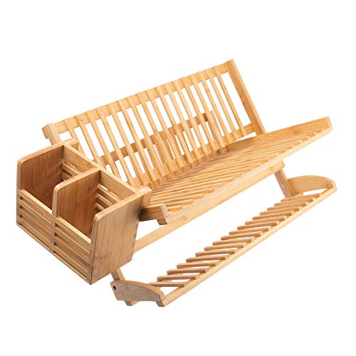 Bamboo Dish Drying Rack w/ Utensil Dish Drainer by Maozinho Homeware | Collapsible Foldable Dish Drainer | For Big plates, Cups, Mugs, Utensils | 18 Slits | Eco-Friendly | Large 2-Tier Double Sided (Wood Dish Dry Rack)