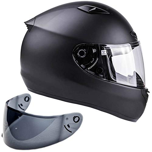 Free Smoke Shield with Purchase! Snell M2015 Approved DOT Full Face Helmet Motorcycle Street Racing (XXL - Matte Black)