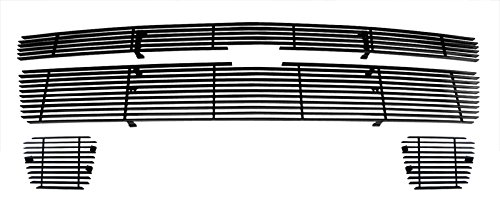 MaxMate Fits 07-14 Chevy Avalanche/Tahoe(Not for Hybrid)/Suburban Main Upper+Lower Bumper 3PC Bolton Black Billet Grille Grill Insert ()
