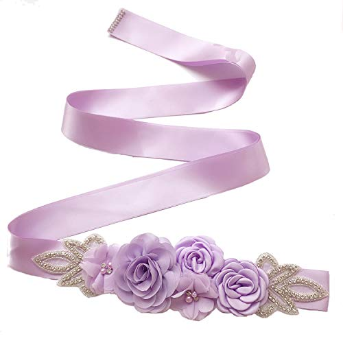Sash Belt with Flowers Pearls Rhinestone for Wedding Bride/Baby Shower Dress,Lavender