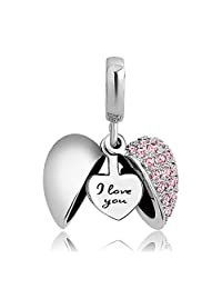 CoolJewelry Open Heart I Love You Heart Charms Compatible with Bracelets