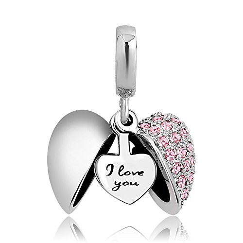 ShinyJewelry I Love You Heart Charm Dangle Bead for European Bracelet Necklace (Pink) ()