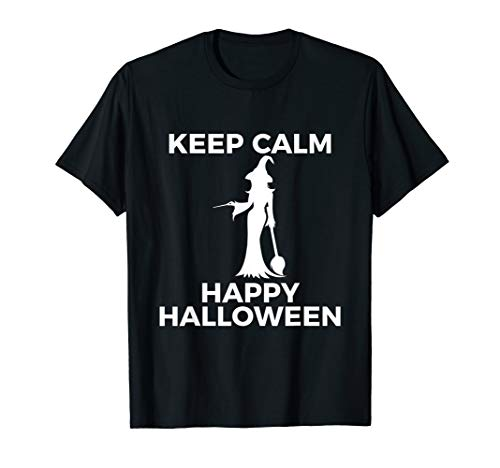 Spectacular Cute Witch Keep Calm Happy Halloween T Shirt