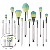 VIE 14-pieces Makeup Brush High-gloss Brush Eye Shadow Brush Beauty Tools (Color : Milky white+green)