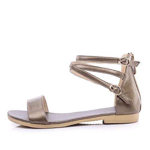 AalarDom Low PU TWOKOU Womens Open Solid Gold Toe Heels Sandals 4OqS4rw