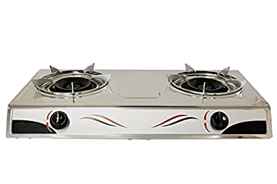 Bioexcel Stainless Steel Cooktop Dual Gas Stove Burners Portable Buffet Range - Perfect for Kitchen and Camping - Choose Your Burner Size