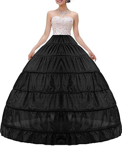 MISSVEIL Women Crinoline Petticoat Hoop Skirt Slips Long Underskirt for Wedding Dress Ball Gown Black