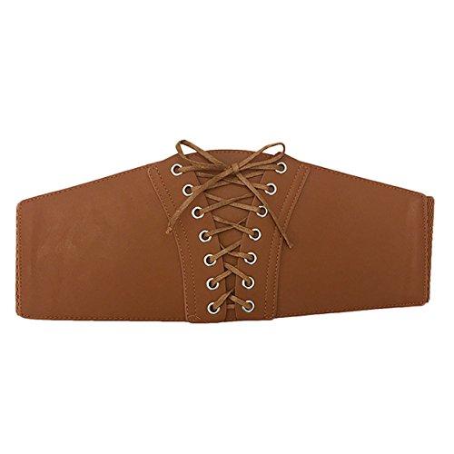 Womtop Women Belts Women's Elastic Wide Band Lace Up High Waist Belt Eyelets Cinch Belt Corset Style Belts (Camcel, Free) (Corset Belt Waist High)