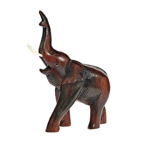 AeraVida Joyous Elephant Carved Rain Tree Wood Figurine Sculpture