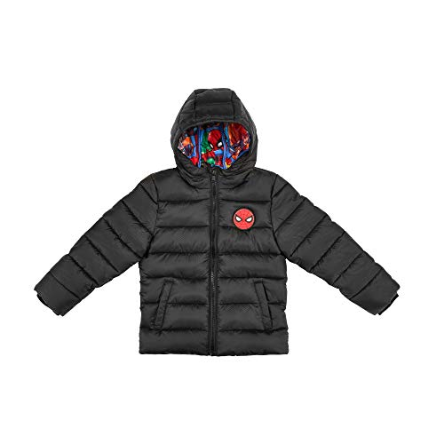 The Arctic Squad Spiderman with Marvel Lining Toddler Hooded Puffer Jacket, Black, Size 4T