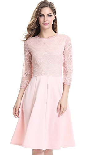 Women Pink Lace 3/4 Sleeve Evening Dress Ballgown Bubble Skirt XL