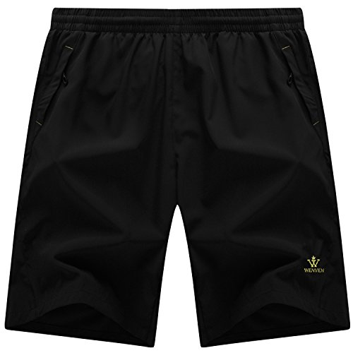 WenVen Mens Quick Dry Waterproof Lightweight Sports Shorts with Zip Pockets