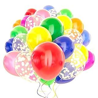 120 Pack Rainbow Balloons + White Confetti Balloons w/Ribbon   Rainbow Balloon   Party Balloons   Helium Balloons   Multi Colored Balloons   Birthday Balloons   Globos para Fiestas   Bright Balloons