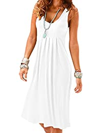 Women Casual Summer Vest Dresses Loose Cotton Sleeveless Pleated Fashion Plain