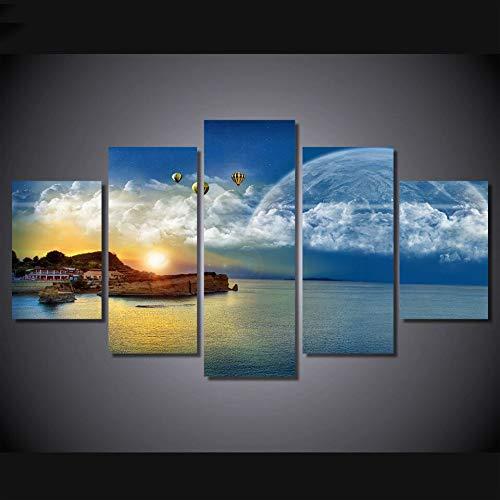 WJNKGHG Leinwand Malerei Wandkunst Abstrakte Dekorative Bilder 5 Panel Sonne Und Seaview Landschaft Für Wohnzimmer Schlafzimmer Drucke (Sonne Bilder Für Kinder)